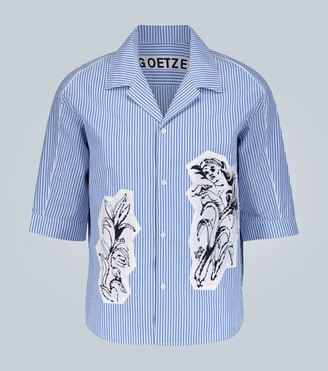 Goetze Ted printed-panel seersucker shirt