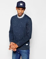 Esprit Sweatshirt With All Over Print - Blue