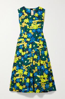 Marni Pleated Floral-print Cotton-poplin Midi Dress