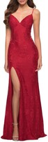 Thumbnail for your product : La Femme Stretch Lace Gown w/ Lace-Up Back