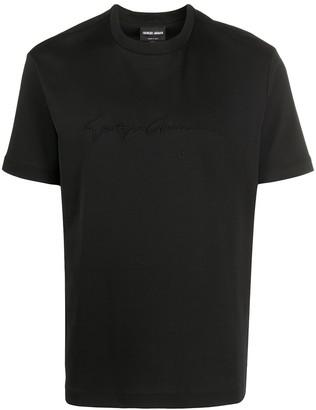 Giorgio Armani embroidered logo T-shirt