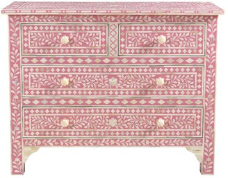Empress Homewares Agila Florentine Bone Inlay 4 Drawer Chest Pink