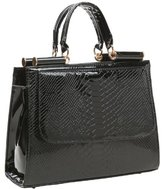 MG Collection Eilis High Gloss Faux Crocodile Doctor Tote Purse