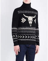 Ralph Lauren Purple Label Bull Skull-motif Cashmere And Wool-blend Jumper