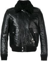 Saint Laurent pin embellished bomber jacket - men - Cotton/Leather/Sheep Skin/Shearling/zamac - 44