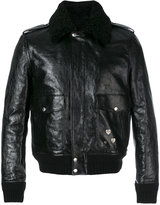 Saint Laurent pin embellished bomber jacket - men - Cotton/Leather/Sheep Skin/Shearling/zamac - 52