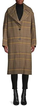 Proenza Schouler Oversized Plaid Virgin Wool Linen Coat