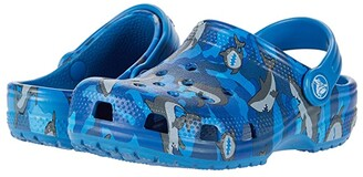 Crocs Classic Shark Clog (Toddler/Little Kid) (Prep Blue) Boy's Shoes
