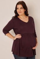 Yours Clothing BUMP IT UP MATERNITY Wine Ruched Waist Longline Top