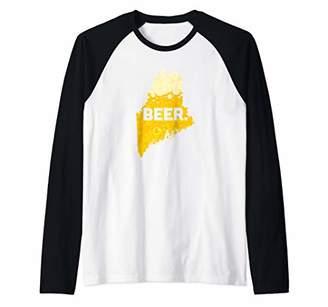 Funny Beer ME State Drinking Home Love Maine Beer Raglan Baseball Tee