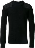 Versus fisherman knit patched shoulder sweater