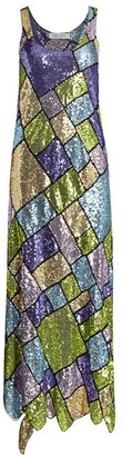 Prabal Gurung Sleeveless Sequin Patchwork Midi Dress