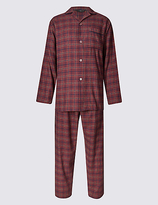M&s Collection Brushed Cotton Stay Soft Checked Pyjamas