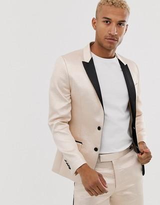 ASOS DESIGN skinny tuxedo prom suit jacket in champagne jacquard