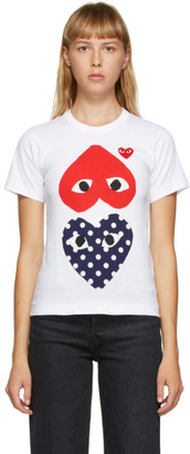 Comme des Garcons White Upside Down Heart T-Shirt
