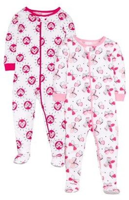 Little Star Organic Baby Girls & Toddler Girls 1-Piece Snug Fit Cotton Sleeper Footed Pajamas, 2-Pack (9M-5T)