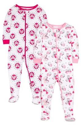 Little Star Organic Baby Toddler Girl Cotton 1pc Sleeper Pajamas, 2-Pack