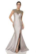 Terani Couture Elegant Beaded Sleeveless Illusion Neck Polyester Trumpet Gown 1611M0625A