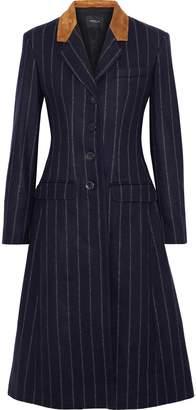 Derek Lam Studded Suede-paneled Pinstriped Wool-felt Coat