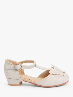John Lewis & Partners Children's Butterfly T-Bar Shoes, White