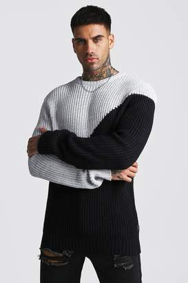 BoohoomanBoohooMAN Mens Grey Asymmetric Chunky Knit Jumper, Grey