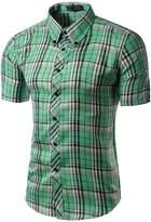 Vedem Men's Casual Short Sleeve Polyester Plaid Button Down Shirt (3XL, )