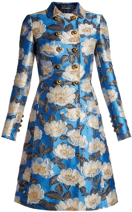 Dolce & Gabbana Double-breasted floral-jacquard coat