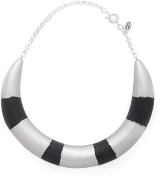 Vanda Jacintho - Striped Choker Necklace - Navy