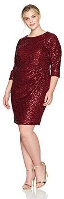 Jessica Howard JessicaHoward Women's Plus Size 3/4 Sleeve Sequin Shift