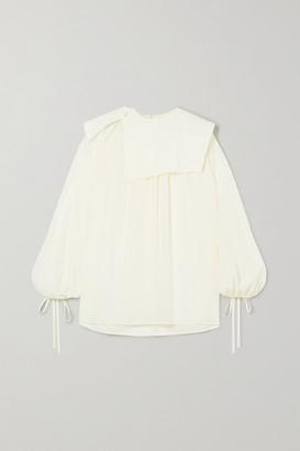 Victoria Beckham Paneled Silk Crepe De Chine Blouse - Cream