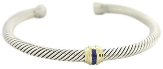 David Yurman 14K Gold & 925 Sterling Silver with Sapphires Bangle Bracelet