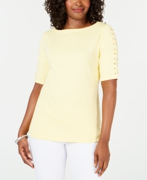 Karen Scott Cotton Lace-Up-Sleeve Top, Created for Macy's
