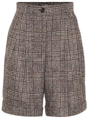 Dolce & Gabbana Checked wool-blend Bermuda shorts