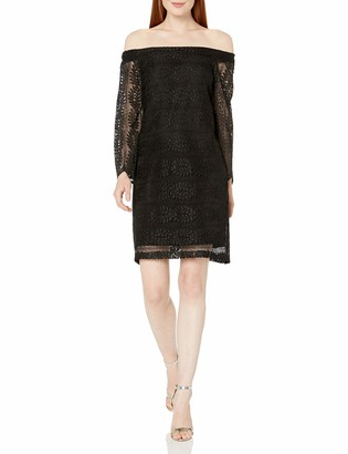 Donna Morgan Women's Black Lace Off The Shoulder Shift 0