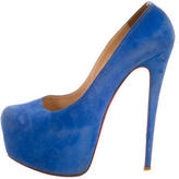Christian Louboutin Suede Daffodile Platform Pumps