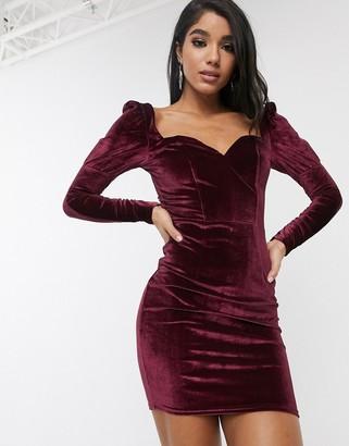Pretty Darling velvet bodycon dress-Purple