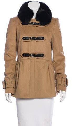 Burberry Fox Fur & Virgin Wool Coat
