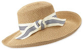 Eric Javits Socialite Grosgrain-Trim Woven Sun Hat
