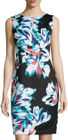Ellen Tracy Floral-Print Fitted Dress, Black/Multi