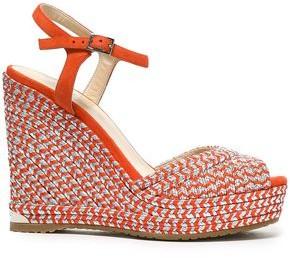 217f25feb2a2 Jimmy Choo Perla 120 Suede And Metallic Woven Wedge Sandals