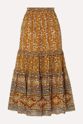 Ulla Johnson Thea Printed Fil Coupe Silk And Lurex-blend Midi Skirt - Brown