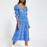 River Island Blue floral plisse square neck midi dress