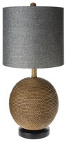 Mudhut Rope Textured Sphere Table Lamp with Gray Linen Shade (Includes CFL Bulb)