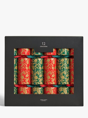 John Lewis & Partners Bloomsbury Garden Birds Christmas Crackers, Pack of 12, Red / Green