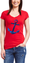 Red & Blue Sequin Anchor V-Neck Tee