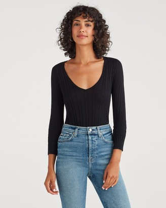 7 For All Mankind Cashmere Blend Long Sleeve Deep V-Neck in Jet Black