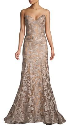 Jovani Metallic Embellished Trumpet Gown