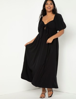 ELOQUII Tie Front Full Skirted Maxi Dress
