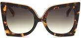 No.21 Oversized metal brow tortoiseshell cat eye gradient sunglasses