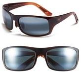 Maui Jim Men's 'Haleakala - Polarizedplus2' Polarized Wrap Sunglasses - Gloss Black/ Maui Rose